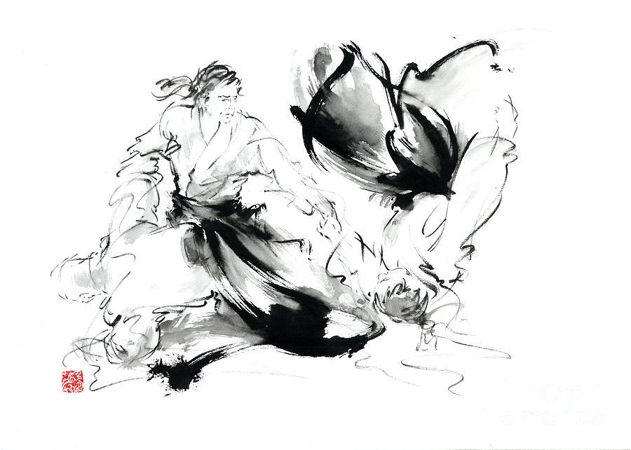 Aikido Randori Techniques Kimono Martial Arts Sumi E Samurai Ink Painting Artwork Painting By