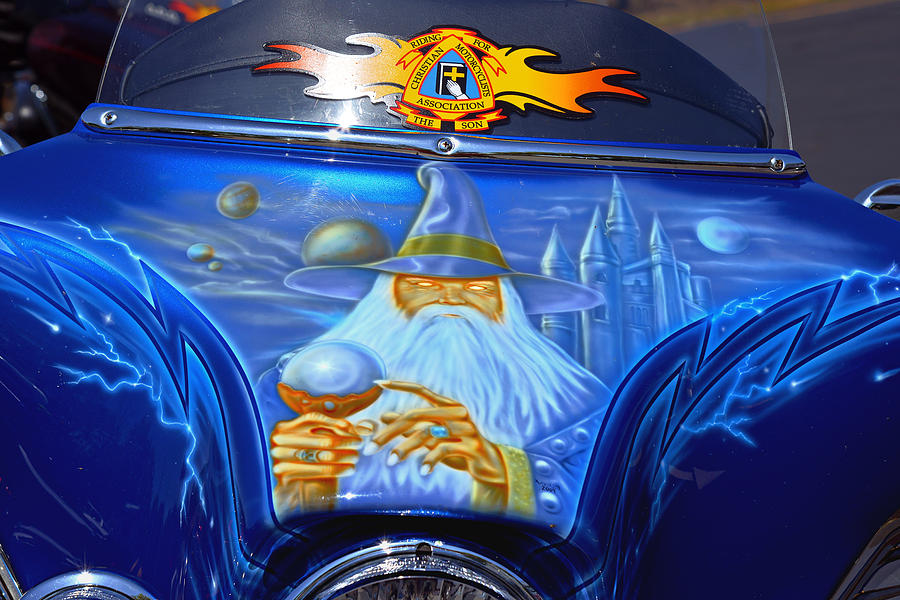 Airbrush Magic - Wizard Merlin On A Motorcycle Photograph