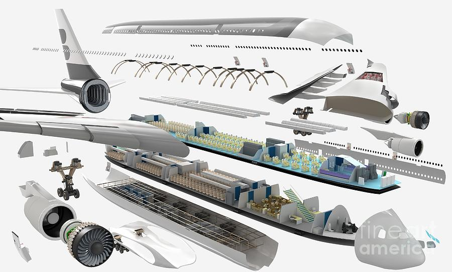 Airbus Exploded Diagram Photograph By Nikid Design Ltd