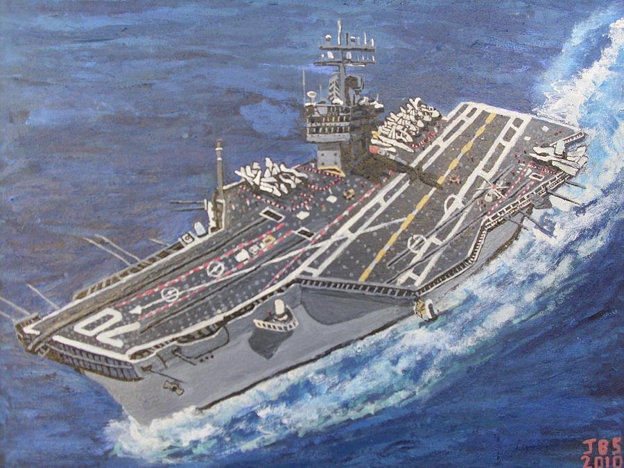 Aircraft Carrier Painting - Aircraft Carrier Cvn-70 Carl Vinson by Jose Bernal