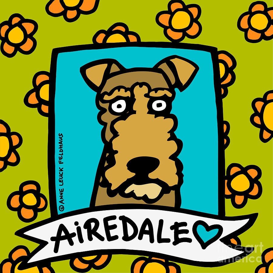Airedale Love Digital Art