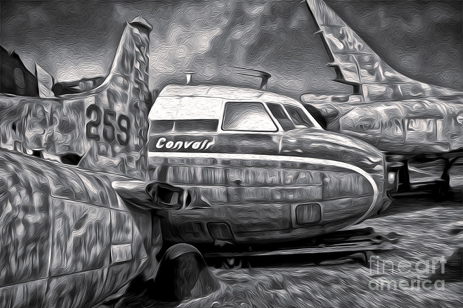 Airplane Graveyard - Black And White Painting  - Airplane Graveyard - Black And White Fine Art Print