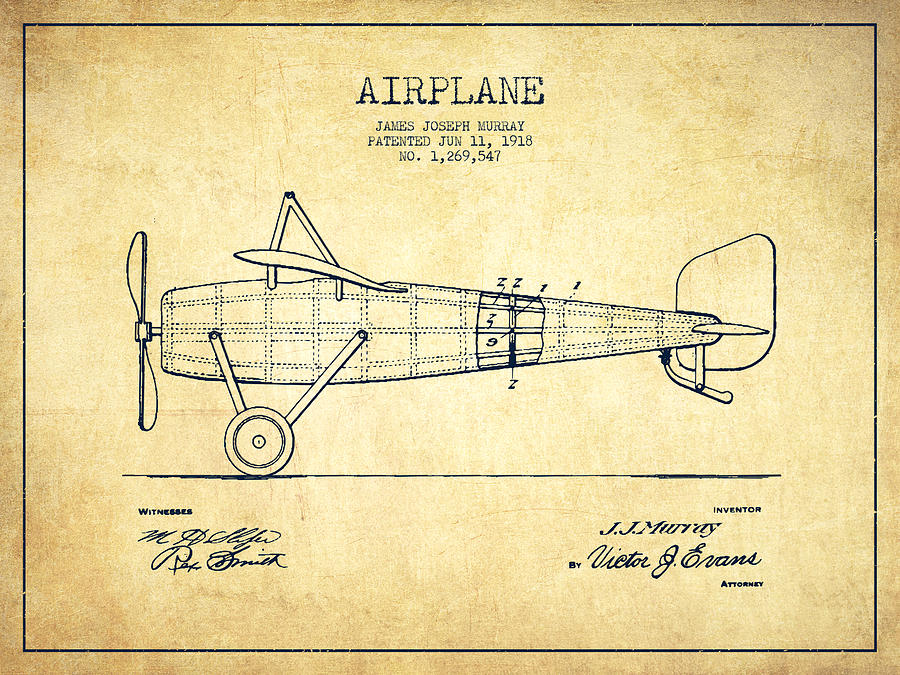 Airplane Patent Drawing From 1918 Vintage Drawing By