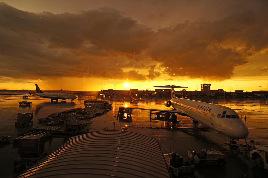 Airport Photograph - Airport After The Rain by Chikako Hashimoto Lichnowsky