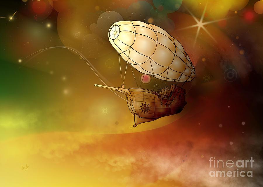 Airship Digital Art - Airship Ethereal Journey by Bedros Awak