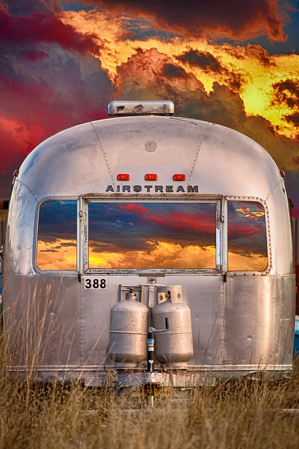 Airstream Travel Trailer Camping Sunset Window View Photograph