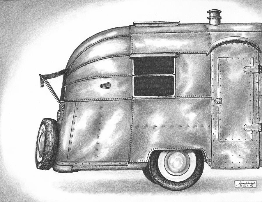 Airstream Vacation Drawing  - Airstream Vacation Fine Art Print