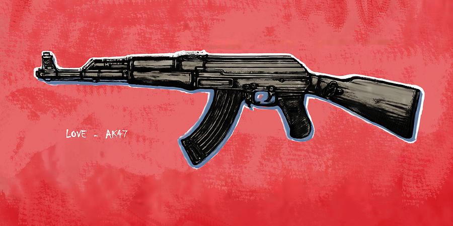 Ak - 47 Gun Pop Art Drawin Poster Drawing
