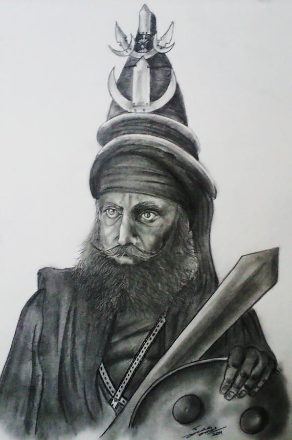 Akaali Sikh Warrior Drawing by Jaiteg Singh