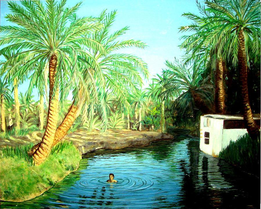 Al Ain Oasis Painting By Amani Al Hajeri