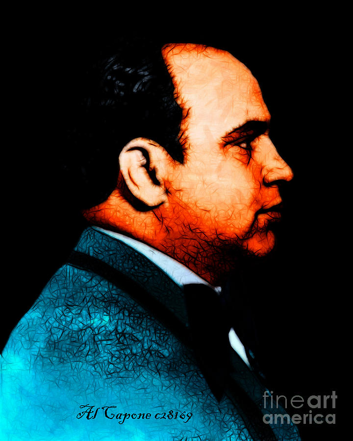 Al Capone Photograph - Al Capone C28169 - Black - Painterly - Text by Wingsdomain Art and Photography