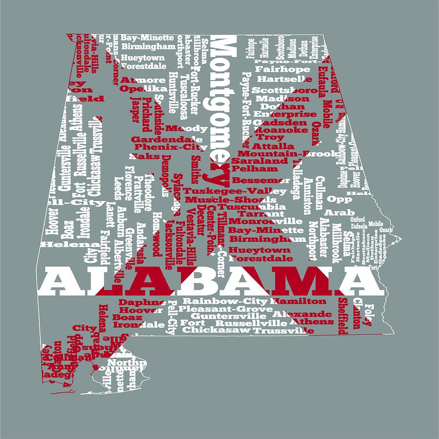 Alabama Digital Art - Alabama State Flag Word Cloud by Brian Reaves