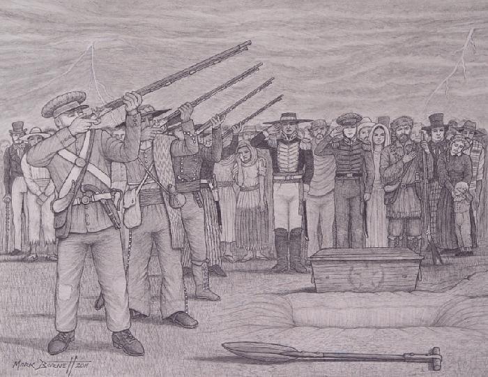 Alamo Defenders Burial Drawing