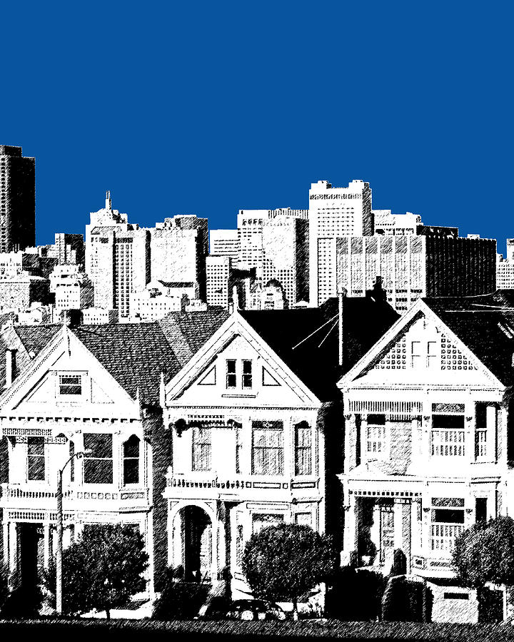 Alamo Square Royal Blue Digital Art  - Alamo Square Royal Blue Fine Art Print