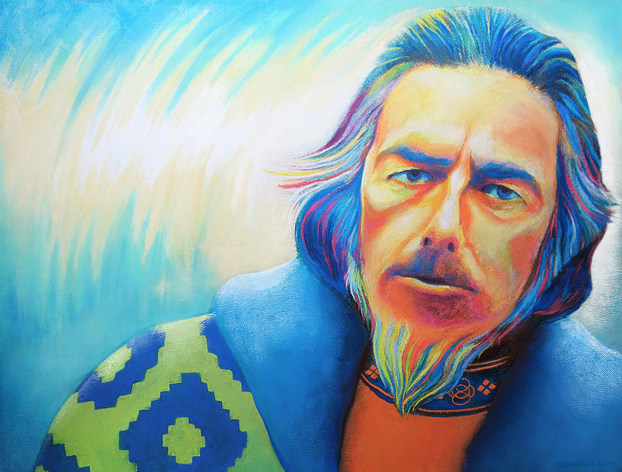 Alan watts portrait is a painting by roberto carrillo which was