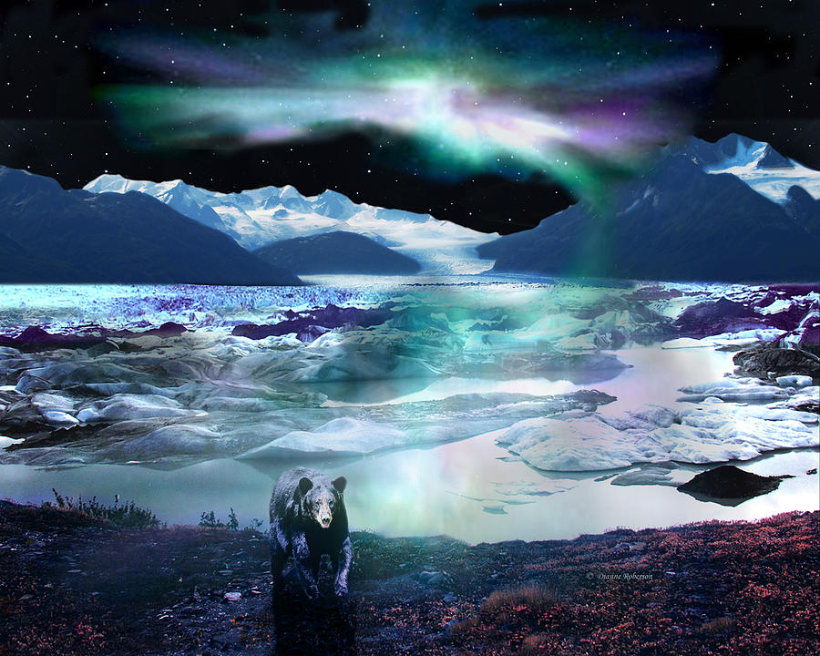 Alaska Aurora Knik Glacier Bear Digital Art