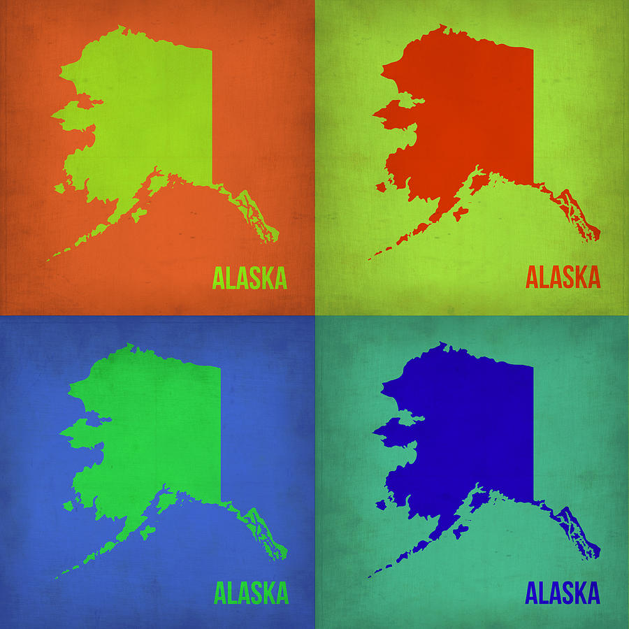 Alaska Pop Art Map 1 Painting  - Alaska Pop Art Map 1 Fine Art Print