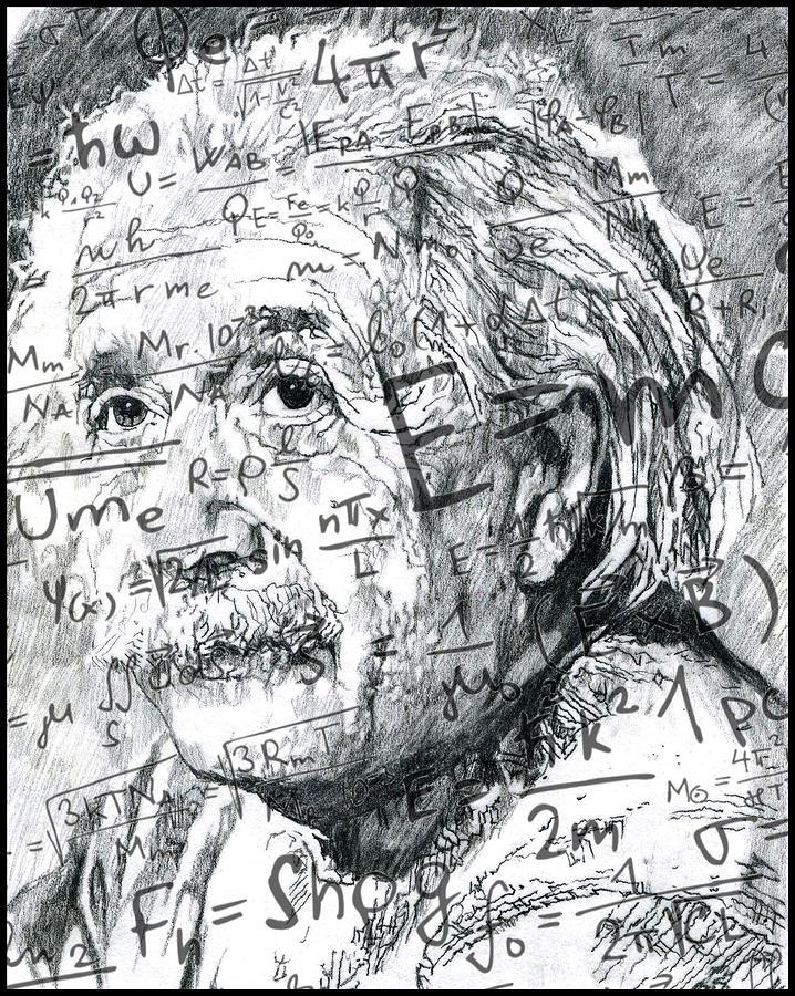 Einstein Drawing - Albert Einstein by Kyle Willis