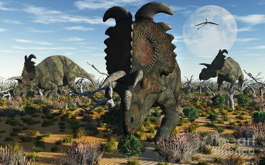 Albertaceratops Dinosaurs Grazing Digital Art