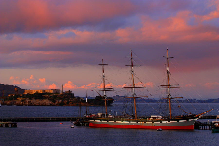 Alcatraz And Schooner Photograph