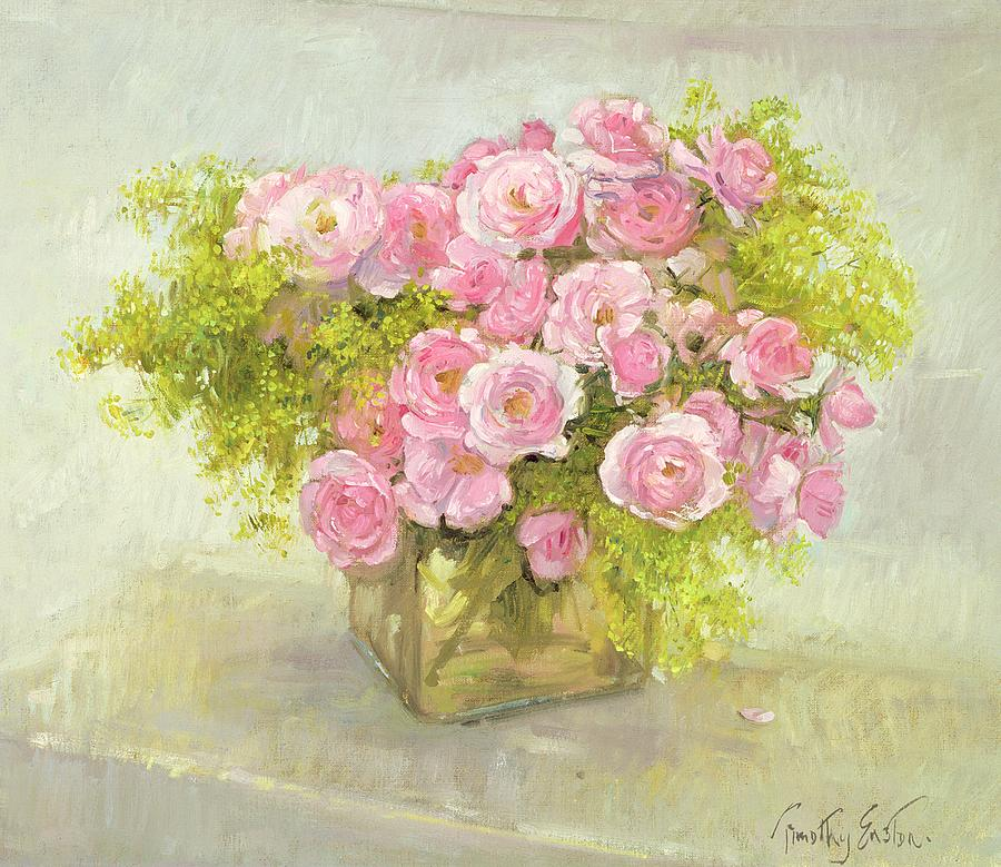 Mollis; Rose; Flower; Vase; Arrangement; Still Life Painting - Alchemilla And Roses by Timothy Easton