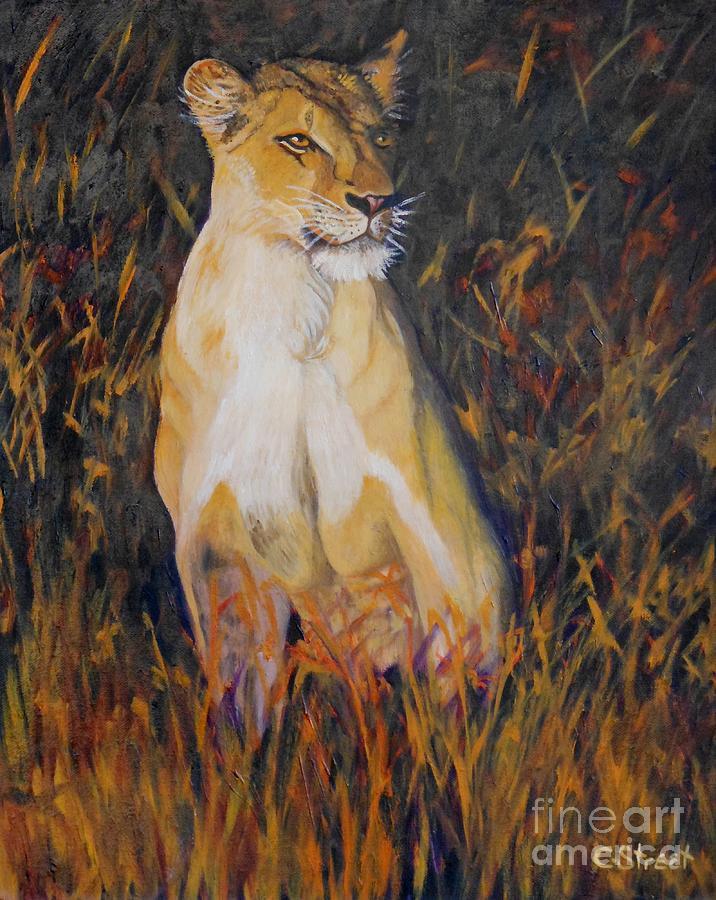Alert Lioness Painting