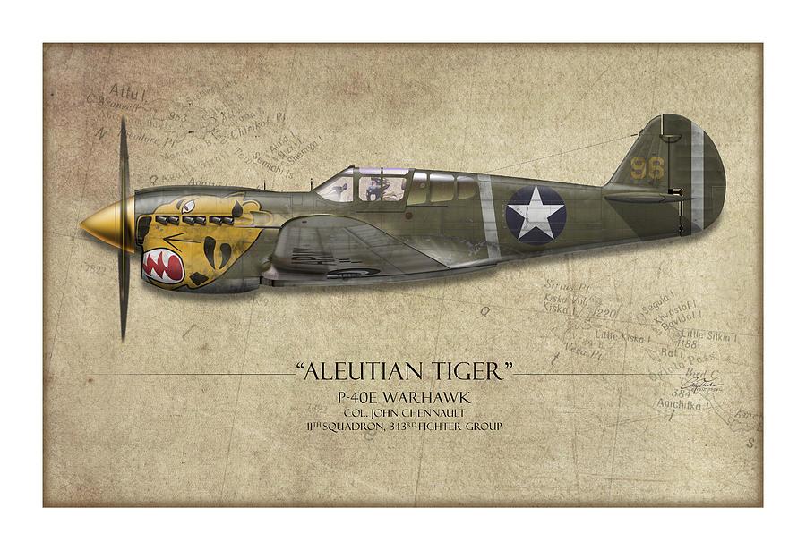 Aviation Painting - Aleutian Tiger P-40 Warhawk - Map Background by Craig Tinder