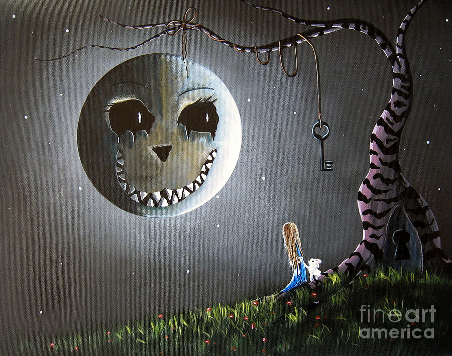 Alice And The Cheshire Moon By Shawna Erback Painting  - Alice And The Cheshire Moon By Shawna Erback Fine Art Print
