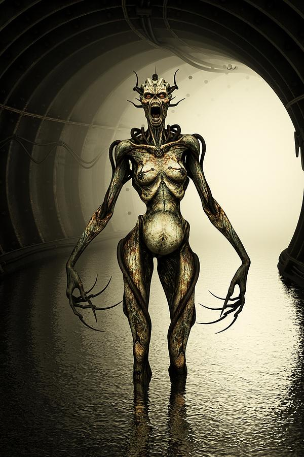 Alien Cyborg Digital Art  - Alien Cyborg Fine Art Print
