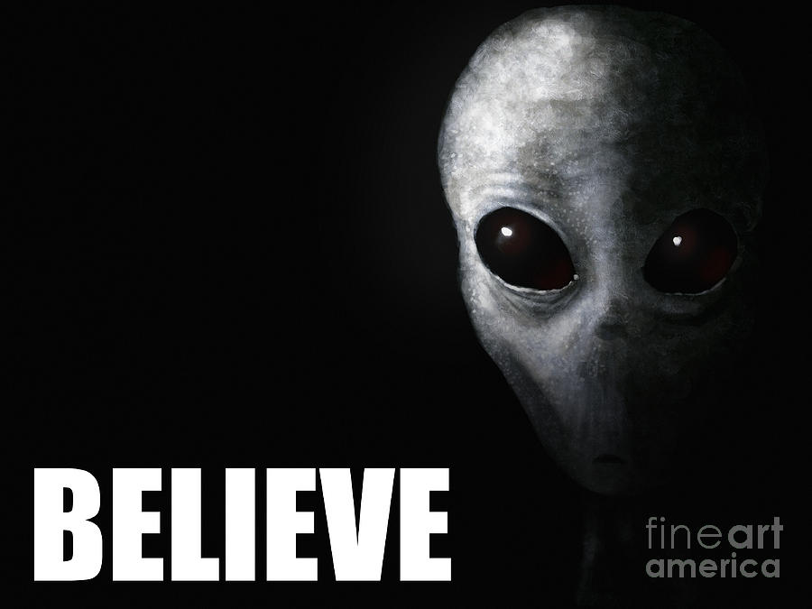 Alien Grey - Believe Painting  - Alien Grey - Believe Fine Art Print