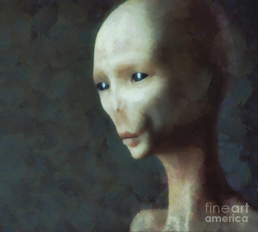 Alien Grey Thoughtful  Painting  - Alien Grey Thoughtful  Fine Art Print