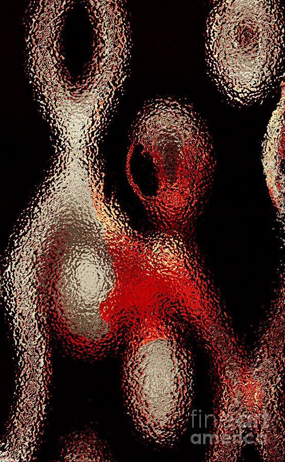 Alien Like Beige And Red Blobs On A Black Photograph  - Alien Like Beige And Red Blobs On A Black Fine Art Print