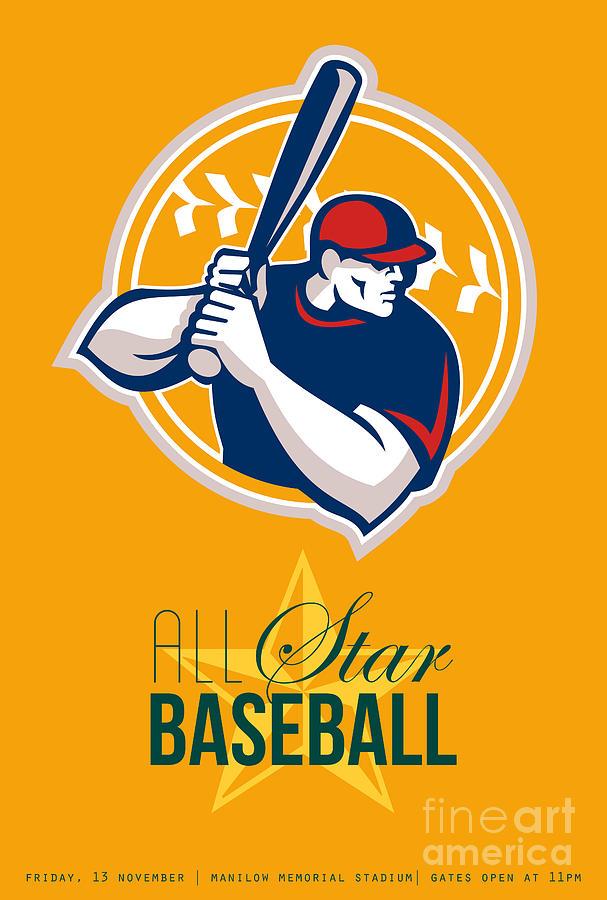 All-american Star Baseball Retro Poster  Digital Art