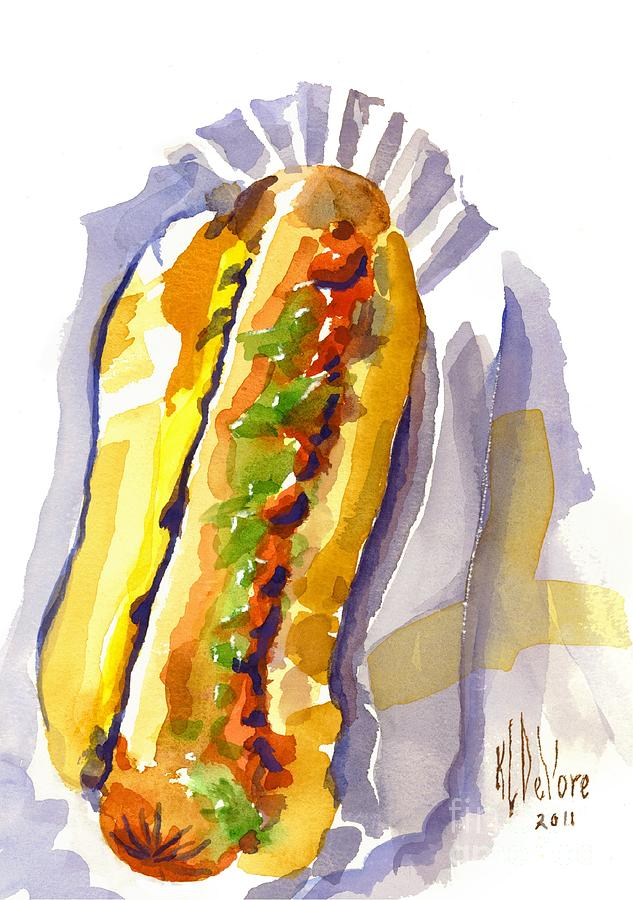 All Beef Ballpark Hot Dog With The Works To Go In Broad Daylight Painting  - All Beef Ballpark Hot Dog With The Works To Go In Broad Daylight Fine Art Print