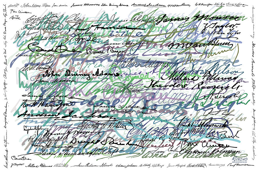All The Presidents Signatures Teal Blue Painting  - All The Presidents Signatures Teal Blue Fine Art Print