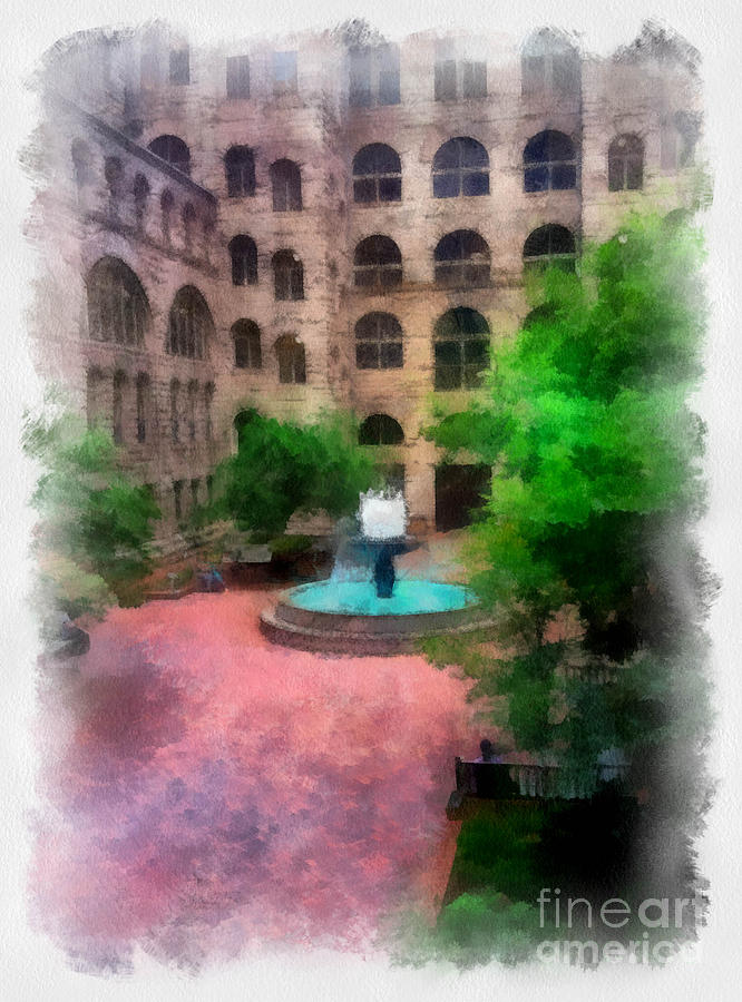 Allegheny County Courthouse Courtyard Digital Art  - Allegheny County Courthouse Courtyard Fine Art Print