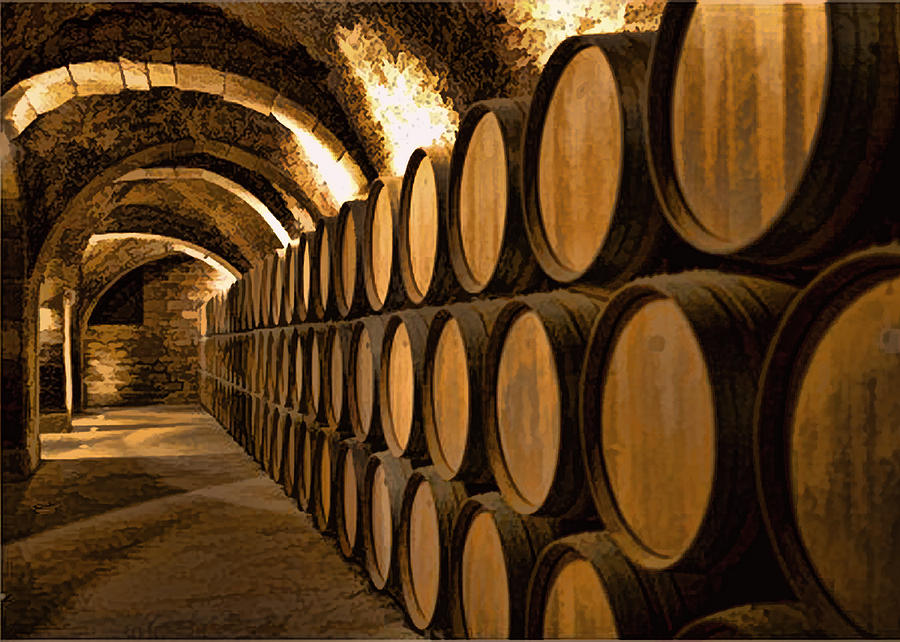 Alley Of Barrels At The Winery is a painting by Elaine Plesser which ...