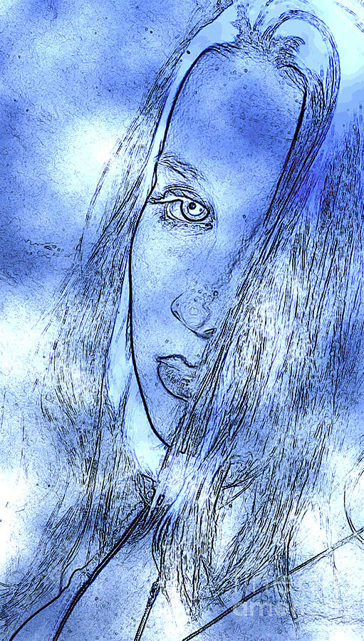 Alluring Portrait In Blue Photograph