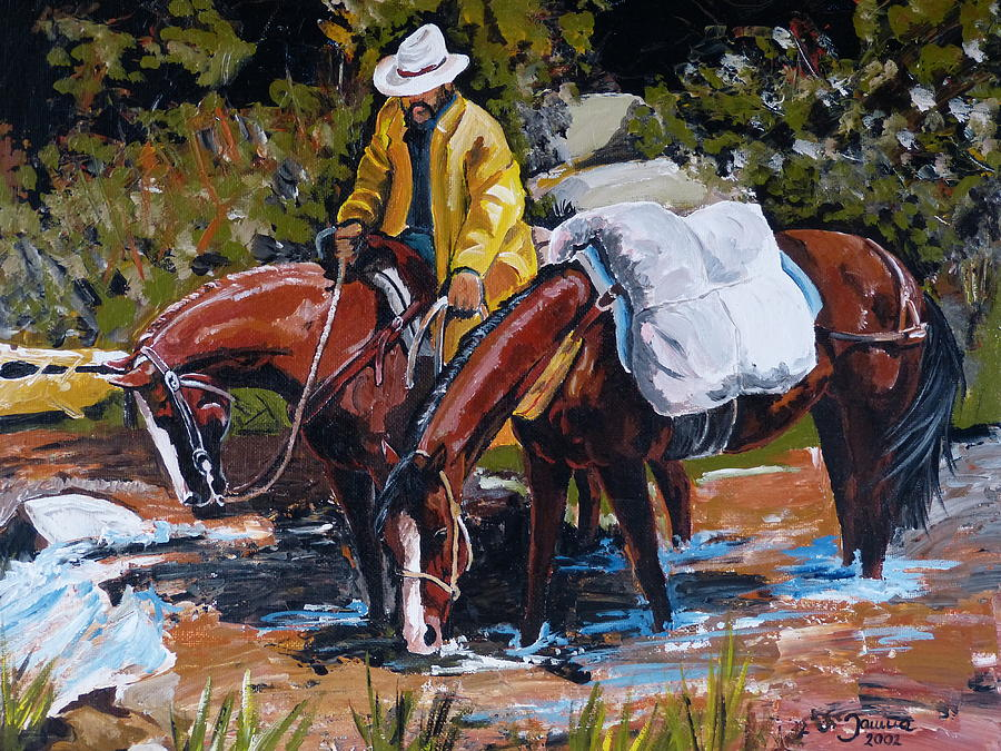 Cowboy Art Painting - Almost There by Janina  Suuronen