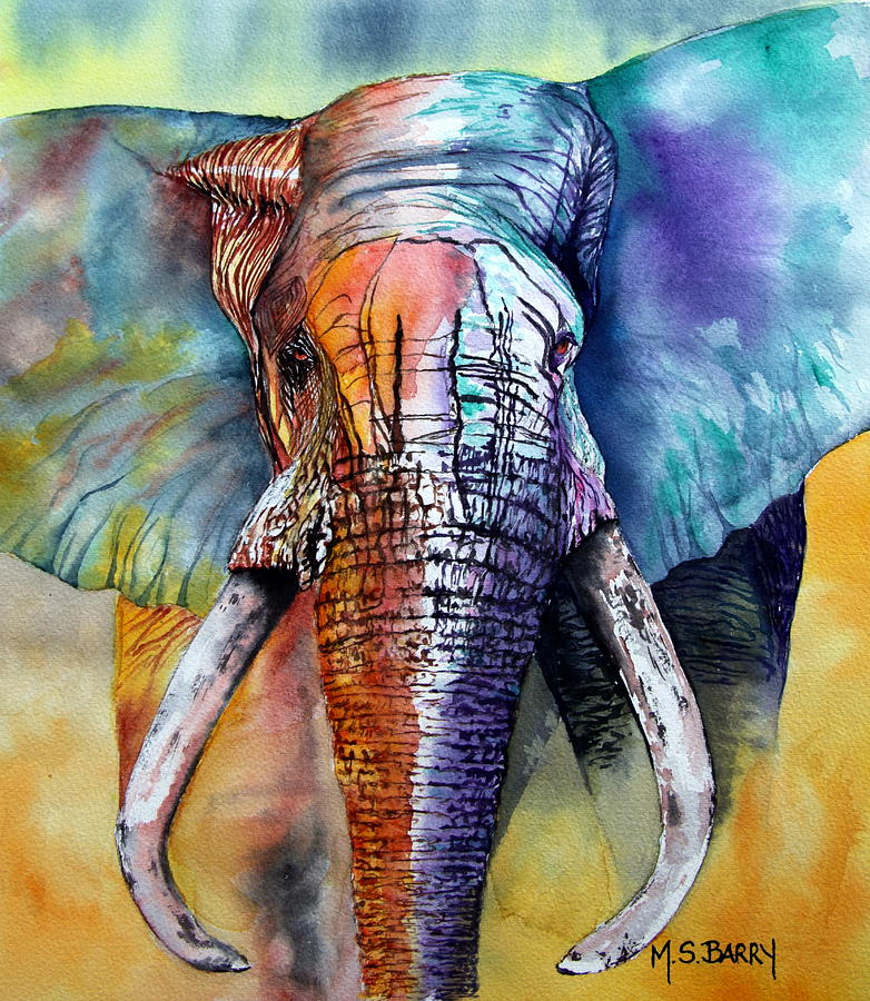 Elephant Painting - Alpha by Maria Barry