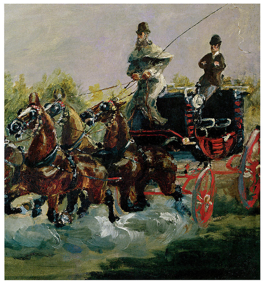Alphonse De Toulouse-lautrec Driving His Four-in-hand Painting  - Alphonse De Toulouse-lautrec Driving His Four-in-hand Fine Art Print