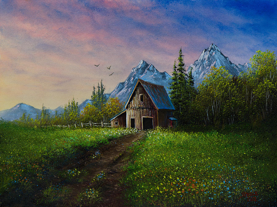 Alpine Barn Painting