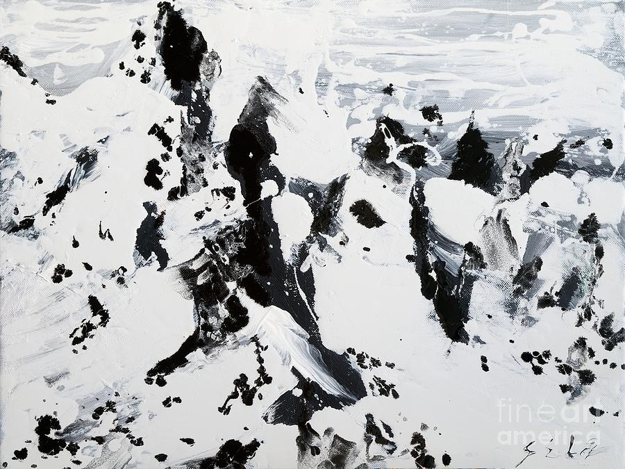 Alps in black and white painting by lidija ivanek sila for White and black paintings