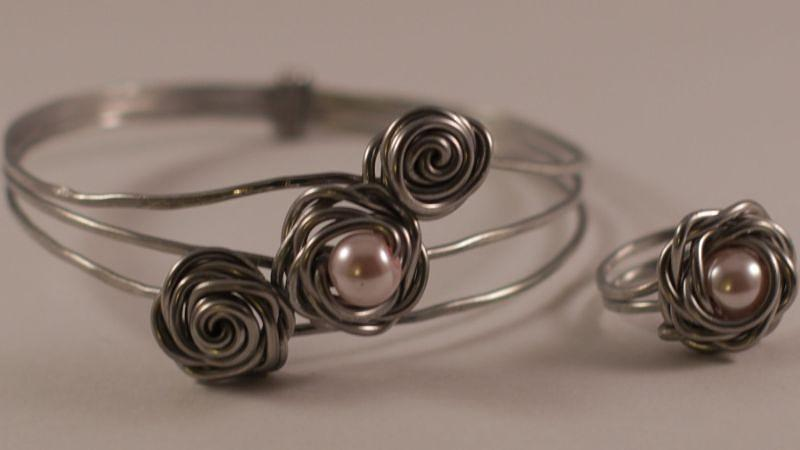 aluminum and pearl rosebud bracelet and ring jewelry by