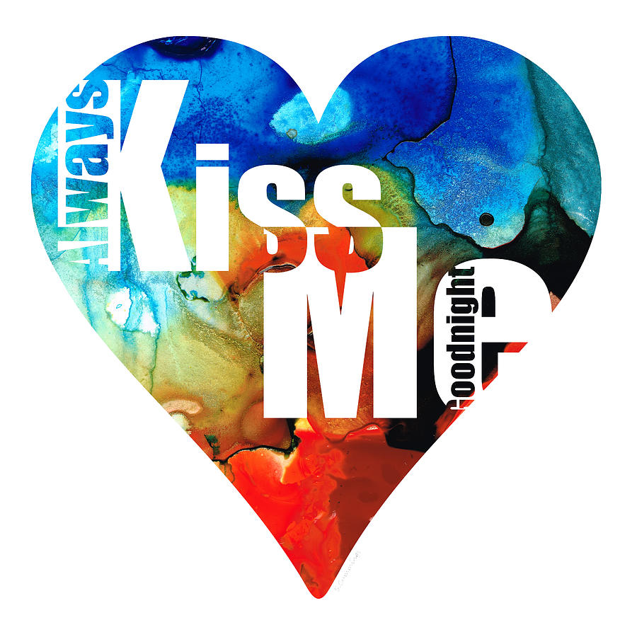 Always Kiss Me Goodnight 6 - Valentines Day Painting  - Always Kiss Me Goodnight 6 - Valentines Day Fine Art Print