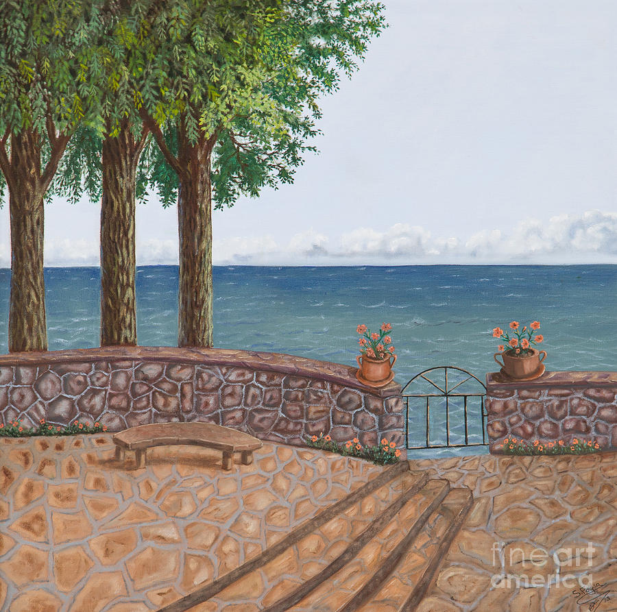 Amalfi Terrace Over Looking The Sea Painting