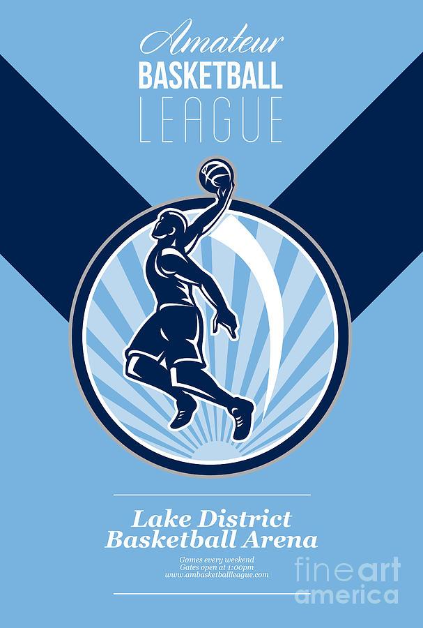 Basketball Digital Art - Amateur Basketball League Retro Poster by Aloysius Patrimonio