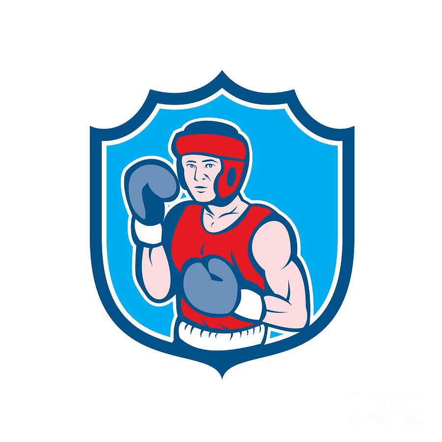 Amateur Boxer Stance Shield Cartoon Digital Art