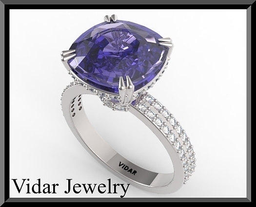 Amazing Blue Sapphire And Diamond 14k White Gold Engagement Ring Jewelry
