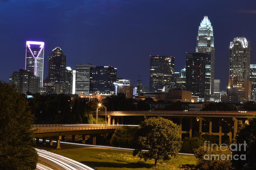 Amazing Charlotte Nc City Skyline Photograph  - Amazing Charlotte Nc City Skyline Fine Art Print